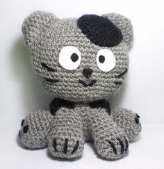Super cute wool grey cat with black dots kawaii by MaChatNoir, $20.00