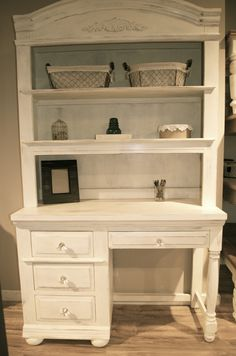 Shabby Chic Desk with Hutch
