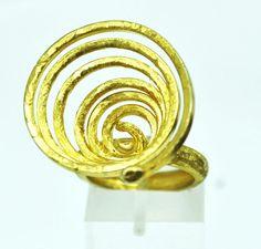 Gold Plated Large Artisan Ring spiral ring Statement ring