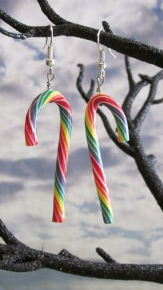 Rainbow Candy Cane Earrings by dragonsdreamsdesigns on Etsy