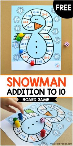 This is a cute winter-themed Snowman Board Game printable for kids to practice beginning addition in a fun and engaging way! Math Board Games, Board Games For Kids, Math Games, Preschool Math, Kindergarten Activities, Fun Activities, Winter Activities For Kids, Math For Kids, Fun Worksheets