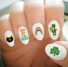 Nail Decals, St. Patrick's Day Nail Decals, Kiss Me I'm Irish, Shamrock, Rainbow, Leprechaun,Water Transfer,Nail Tattoo,Fashionable Nail Art by ShopRisasPieces on Etsy
