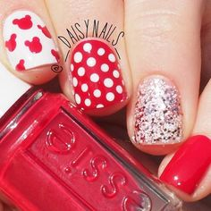Red and White Disney Nail Art Design