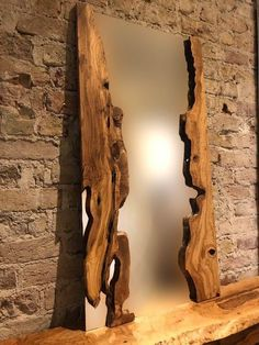 Handcrafted live edge wall mirror with live edge olive wood frame – Spiegel Live Edge Furniture, Log Furniture, Furniture Ideas, Rustic Mirrors, Wood Mirror, Diy Wooden Projects, Wooden Diy, Live Edge Wood, Rustic Decor