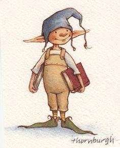 Stoffbeutel mit Original-Kunstwerken: Bücherwurm Elf Tote bag with original works of art: Elf Bookworm Elf Drawings, Cute Drawings, Fairy Drawings, Magic Creatures, Fairy Paintings, Elves And Fairies, Art Original, Fairy Art, Children's Book Illustration