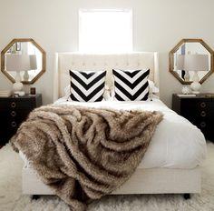 Simple black & white + fur bedroom