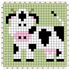 Thrilling Designing Your Own Cross Stitch Embroidery Patterns Ideas. Exhilarating Designing Your Own Cross Stitch Embroidery Patterns Ideas. Graph Crochet, Crochet Cow, Pixel Crochet, Crochet Squares, Crochet Patterns, Crochet Borders, Crochet Lace, Cross Stitch Cow, Cross Stitch Animals