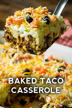 Cheesy Taco Casserole Cheesy Baked Taco Casserole – a fun dinner that the kids can& get enough of! Salades Taco, Casserole Dishes, Taco Bake Casserole, Taco Casserole With Tortillas, Taco Salad Casserole Recipe, Chicken Taco Casserole, Easy Mexican Casserole, Casserole Ideas, Dinner Casserole Recipes
