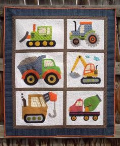"Finished size: 47.5"" x 55.5"". Applique pattern of construction vehicles. Each vehicle could be used separately as a pillow or wall hanging."