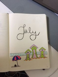 18 Creative Bullet Journal Pages for July - The Funny Beaver - Pin Cartoon Bullet Journal June, Bullet Journal Monthly Spread, Bullet Journal Cover Page, Journal Covers, Organization Bullet Journal, Journal Layout, Journal Notebook, Journals, Bullet Journal Inspiration