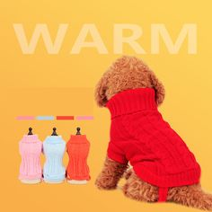 Dog Sweaters clothes Dog Cat puppy Stereo twist High collar fashion Keep warm Vests Hoodies Pet Products Accessories Supplies