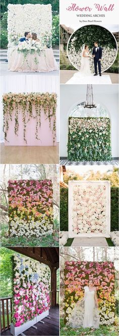Flower wall wedding arches & alter wedding ideas / http://www.deerpearlflowers.com/wedding-ceremony-arches-and-altars/2/