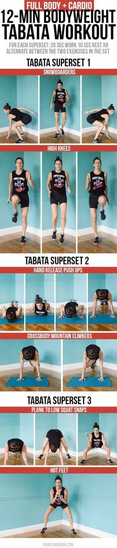 Full-Body and Cardio Tabata Workout - 12 minute long and made up of three tabata supersets of bodyweight exercises