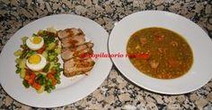 Plato completo con varoma: lentejas, solomillo de cerdo a la soja y verduras