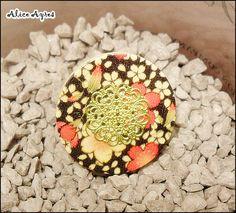 Bague bouton - Fleurs automnales - Filigrane doré : Bague par alice-ayres