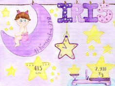 Cuadro bebe datos nacimiento con una niña con pañales sentada sobre la luna colgada de pinzas igual que el nombre de la bebe y unas estrellas en el cielo, dibujado a mano con pintura y acuarela, para la habitación o cuarto de los más pequeños de la casa, logrando una decoración infantil ideal sobretodo para las niñas, poniendo el nombre de la recién nacida, peso, altura, hora y fecha de nacimiento en las estrellas y luna dibujadas, con detalles de balanza, regla y reloj. En este caso para…