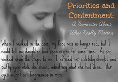 Priorities and Contentment: A Reminder About What Really Matters | The Frugal Homeschooling Mom