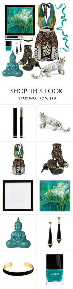 """In The Jungle, The Mighty Jungle"" by loves-elephants ❤ liked on Polyvore featuring Gucci, Herend, SHI 4, Philipp Plein, Pottery Barn, Surya, House of Harlow 1960, VANINA and Butter London"