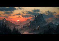 Dragon Spine Mountain by draken4o sunset mountains forest landscape location environment architecture | Create your own roleplaying game material w/ RPG Bard: www.rpgbard.com | Writing inspiration for Dungeons and Dragons DND D&D Pathfinder PFRPG Warhammer 40k Star Wars Shadowrun Call of Cthulhu Lord of the Rings LoTR + d20 fantasy science fiction scifi horror design | Not Trusty Sword art: click artwork for source