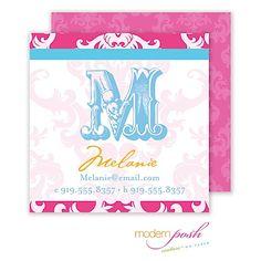 Modern Posh Pink Damask Posh Calling Card Pink & Blue Calling Card at RockPaperScissorsInvitations