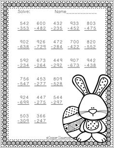 Easter Themed 3 Digit Subtraction With Regrouping Math Practice Worksheets, Teaching Resources, Math Stations, Math Centers, Math Practices, Math Numbers, Teacher Tools, Elementary Math, Math Lessons