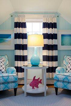 white, blue, gray, stripes, prints - sitting area