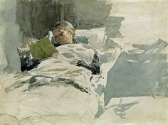 (1) Home / Twitter Reading In Bed, Woman Reading, Children Reading, Reading Art, Reading Books, Adolf Von Menzel, Watercolor Paintings, Original Paintings, Watercolours