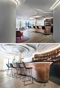 Nature was the inspiration in this modern bar and lounge area, and it has been represented through a sculpted rose on the ceiling. Bar Interior, Retail Interior, Interior Design, Public Library Design, Bar Counter Design, Game Room Bar, Modern Home Bar, Bar Lounge, Lounge Club