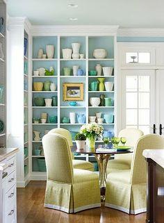 House of Turquoise: Dining Room, love the built-ins House Of Turquoise, Turquoise Kitchen, Home Design, Interior Design, Design Desk, Library Design, Set Design, Interior Ideas, Casa Milano