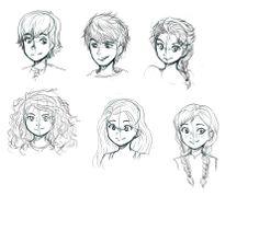 Big Four with Elsa and Anna (or RotBTFD?) doodles by HaruYuzuki.deviantart.com on @deviantART