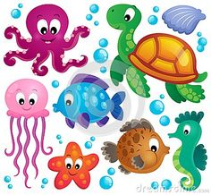 Illustration about Various marine animals set 1 - vector illustration. Illustration of marine, octopus, - 38923215 Water Animals, Animals For Kids, Drawing For Kids, Art For Kids, Decoration Creche, Cartoon Sea Animals, Underwater Theme, Illustration, Ocean Themes