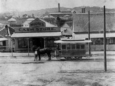 Moore's Cash Store in Commercial Road, Fortitude Valley, Brisbane, ca. A Bulimba horsedrawn tram appears in the foreground. Brisbane Gold Coast, Brisbane City, Brisbane Queensland, Queensland Australia, Gone Days, Australian Photography, Local History, Interesting History, The Good Old Days