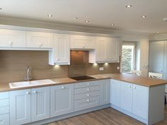 Our kitchens travel far and wide - the Isle of Man, even! This Linda Barker Framed Kitchen in Sea Foam and Chalk White makes the perfect seaside retreat. Blue Kitchen Cabinets, Shaker Kitchen, Buy Kitchen, Kitchen Decor, Kitchen Design, Kitchen Ideas, Kitchen Inspiration, Wren Kitchen, Country Kitchen