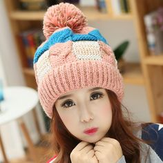 Plaid knit hat for women winter beanie hats