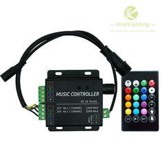 IR Music RGB LED Controlle - 2 channels DC 12v/24v -     IR Music RGB LED Controller, Sound Control > 60 dB, 2 channels, DC 12v/24v, Non-volatile memory, Common anode,                                                              $31.99    Buy at KiwiLighting.com: IR Music RGB LED Controlle – 2 channels DC 12v/24v