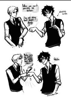 Viria Harry Potter art- Draco/Harry bromance fist bump. Too funny! XD