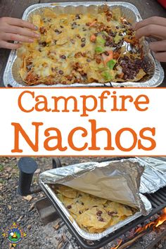 Campfire Grilled Nachos Recipe - Do you love nachos? Make this Grilled Nachos Recipe over the campfire on your next camping trip. They are easy to customize for each person. meals summer Grilled Nachos Recipe - Made on a Grill or over the Campfire Camping Con Glamour, Campfire Grill, Easy Campfire Meals, Campfire Deserts, Campfire Games, Foil Pack Meals, Tin Foil Dinners, Hobo Dinners, Camping Outfits