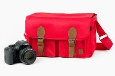The Cambridge Camera Bag - One smart looking, cherry red, ultra-lightweight camera bag ($110.00, http://photojojo.com/store)