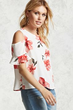 A semi-sheer woven top with a round neckline, open-shoulders, short sleeves with ruffle cuffs, an allover floral print, a back buttoned keyhole, and billowy silhouette.