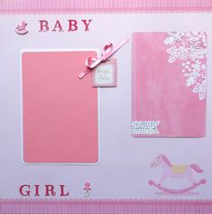 Baby girl handmade scrapbook page premade. Not a printed ink page. It is 3 dimensional, designed from cardstock, paper, chipboard, ribbon, stickers, glitter, and brads. Ships next day in sturdy packaging. For use in scrapbook or in a frame. Includes rocking horses, pacifier, and flowers to accent your photos.