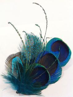 Peacock feather hair clip