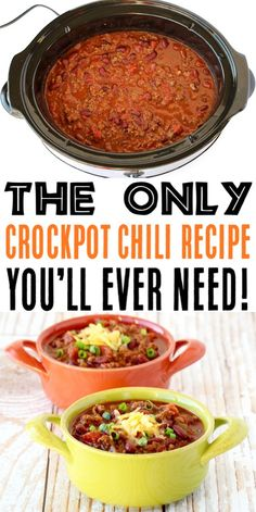 This Easy Slow Cooker Chili is Hearty, Healthy and SO Delicious! It's one of the Best I've ever had! Give it a try this week for the ultimate cozy dinner! # crock pot chili recipes Easy Crockpot Chili Recipe {BEST Chili Ever! Chilli Recipes, Healthy Recipes, Ramen Recipes, Chickpea Recipes, Crockpot Dishes, Crock Pot Cooking, Crock Pot Freezer, Cooking Chef, Receitas Crockpot