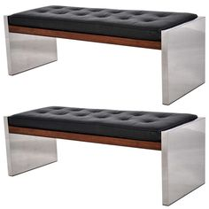 Pair of Roger Sprunger for Dunbar Benches in Rosewood, Leather and Chromed Steel ca.1970's | From a unique collection of antique and modern benches at https://www.1stdibs.com/furniture/seating/benches/