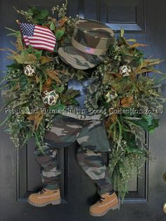 """petals & plumes hat n' boots   Support our Troops"""" Soldier Patriotic Wreath- Memorial Day by Petals ..."""