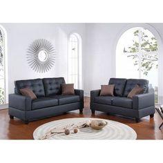Infini Furnishings Sofa and Loveseat Set Upholstery: Black