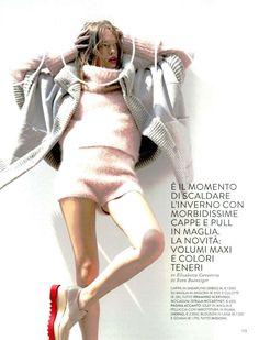 Ermanno Scervino, #ErmannoScervino F/W 2014-15 angora sweater and culottes in Grazia Italy #ScervinoEditorials