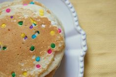 Confetti sprinkle pancakes! Yummy and cute!