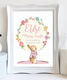 Personalized birth announcement custom wall art peter rabbit a4 personalised peter rabbit beatrix potter print flower picture christening birthday gift present for baby girl negle Choice Image