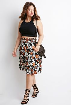 Plus Size Belted Floral A-Line Skirt