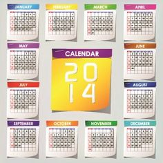 Simple 2014 calendar design vector set 05